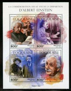 TOGO 2020  65th MEMORIAL OF ALBERT EINSTEIN  SHEET MINT NEVER HINGED