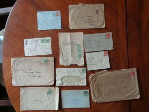 10 Postal Covers George V,  plus  Used Postcard from Waldorf Hotel London.