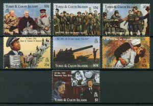 Turks & Caicos 1995 MNH WWII WW2 VE Day World War II Churchill 7v Set Stamps