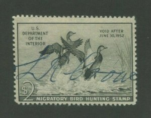1951 US Federal Hunting Permit Duck Stamp #RW51 Used F/VF Pen Cancel