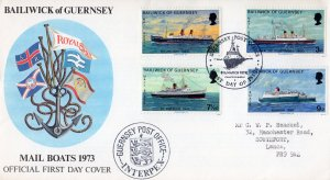 Guernsey 1973 Sc#77/80 MAIL BOATS 1973 SHIPS (4)  OFFICIAL FDC
