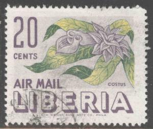 LIBERIA Scott C91 Used 1955 airmail flower stamp