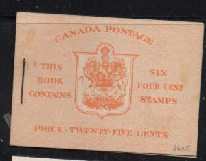 Canada Sc 254a 1943 cpl booklet USC#336e mint NH