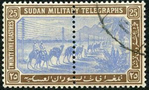 Sudan SGT17 1898 25p Blue and Brown Telegraph used whole Stamp