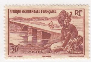 French West Africa, Sc. # 37, MNG, Bamako Dike, 1947