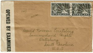 Nyasaland 1943 Port Herald 28 June cancel on cover to the U.S., censored