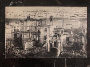 1924 Paris France RPPC Postcard Cover The ruins of Verdu To Newberry Pa USA