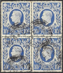 Great Britain 251A Used Block of 4 - George VI