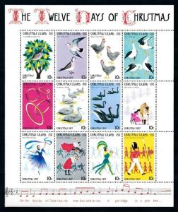 [97784] Christmas Island 1977 Twelve Days of Christmas Birds Music Sheet MNH