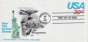 1981, 30c USA Aerogramme, Art Craft, FDC (E12235)