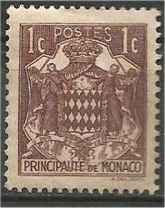 MONACO  1938, MH 1c Arms,.Scott 145