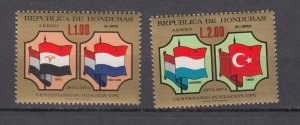 J27766 1975 honduras hv,s of set mnh #c572-3 flags