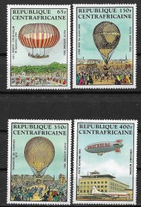 1983 Central African Republic C282-5 Manned Flight Bicentenary MNH C/S of 4