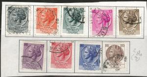 Italy Scott 626-633 used 1953 - 1954 stamp set