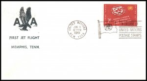 UN New York to Memphis,TN American Airlines 1961 First Jet Flight Cover