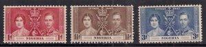 Nigeria 1937 KGV1 Set Coronation MM  SG 46 - 48 ( J1376 )