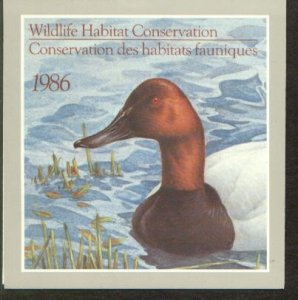 CANADA  FEDERAL WILDLIFE HABITAT CONSERVATION YEAR 1986  LOT#61