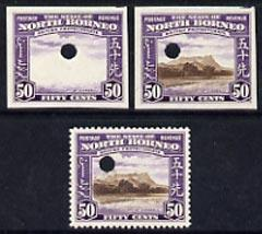 North Borneo 1939 Mt Kinabalu 50c def imperf proof of fra...