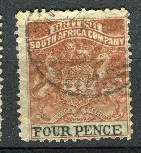 RHODESIA: 1892 early classic Springbok issue used Shade of 4d. value