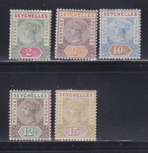 Seychelles 1, 3, 7-8, 10 MH Queen Victoria