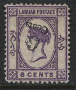 Labuan QV 1891 8 cents dark violet with Inverted Surcharge mint o.g. (JD)