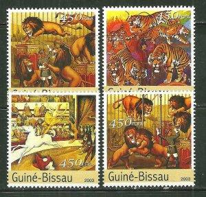 Guinea-Bissau MNH Set Of Circus Animals 2003