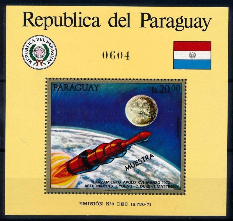 [66075] Paraguay 1972 Space Travel Weltraum Apollo 16 OVP Muestra Sheet MNH