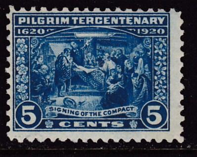 United States 1920  5c blue Pilgrim Tercentenary Issue  Fine/VF/Mint(*)