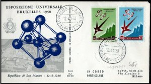 1958 San Marino World Expo Brussels FDC
