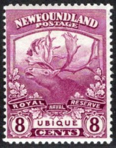 113, NSSC, Newfoundland, 8c, MNHOG, VG/F, Trail of the Caribou, Scott 121