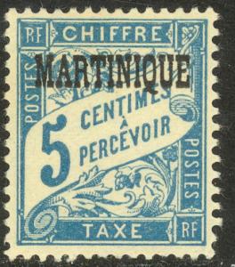 MARTINIQUE 1927 5c Light Blue Postage Due Sc J15 MVLH