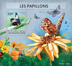 CENTRAFRICAINE 2015 SHEET BUTTERFLIES INSECTS