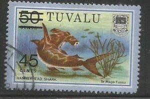 TUVALU 150  USED,  HAMMERHEAD SHARK