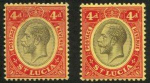 St Lucia SC# 73 chalky paper SC# 75 Surface colored  paper KGV 4d MH