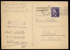 3rd Reich Germany 1945 Theresienstadt Camp Permit Stamp Z1 Cover 89549