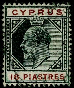 CYPRUS SG70, 18pi black & brown, FINE USED. Cat £14.