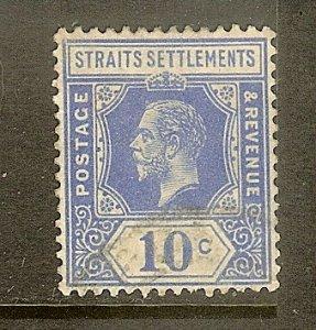 Straits Settlements, Scott #190, 10c King George V, Wmk 4, Used