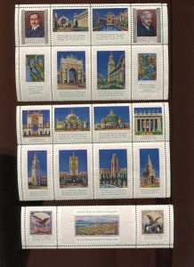 1915 PPIE SOUVENIR GERMAN ATTENDANCE SET OF  19 POSTER STAMPS RATED **RR**(3006)