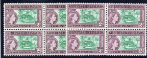 Gilbert & Ellice Is 1956 QEII 2d in both listed shades in blocks MNH. SG 66, 66a