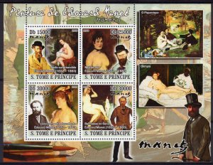 Sao Tome and Principe 2008 EDOUARD MANET FAMOUS NUDES PAINTINGS Souvenir Sheet