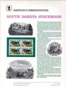 US CP334 South Dakota 2416 Commemorative Panel Mint