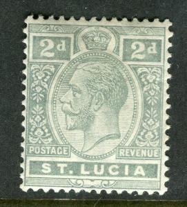 ST.LUCIA; 1912 early GV issue fine Mint hinged Shade of 2d. value