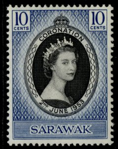 SARAWAK QEII SG187, 10c black & deep violet-blue 1953 CORONATION, M MINT.