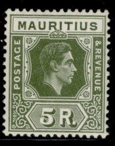 MAURITIUS GVI SG262a, 5r sage-green, M MINT. Cat £38.