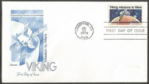 US FDC.1978 VIKING MISSIONS TO MARS 15C STAMP. EXPANDING HUMAN KNOWLEDGE