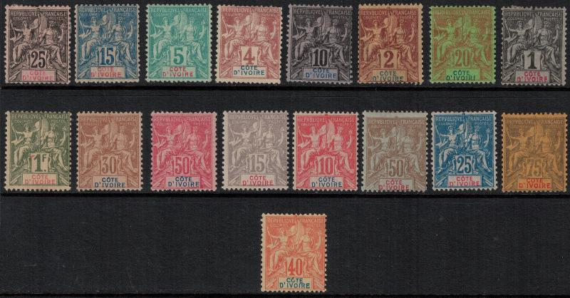 Ivory Coast 1892 SC 1-17 Set H CV $575.50 - VF Set