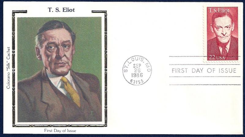 UNITED STATES FDC 22¢ T S Eliot 1986 Colorano