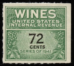 01688 U.S. Revenue Scott RE141 72-cent wine stamp mint