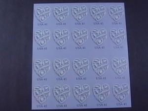 U.S.# (4151a)-MNH-BOOKLET PANE OF 20--WEDDING HEARTS--2007