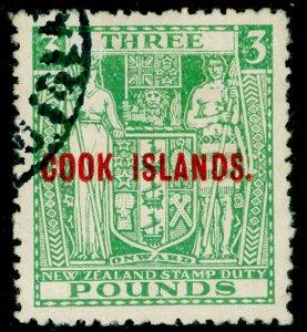 COOK ISLANDS SG135Wi, £3 green, FINE USED. Cat £180. WMK INV.